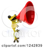 Clipart Of A 3d Yellow And Green Ribbit Frog Announcing With A Megaphone 3 Royalty Free Illustration