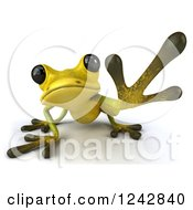 Clipart Of A 3d Yellow And Green Ribbit Frog Reaching Royalty Free Illustration