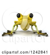 Clipart Of A 3d Yellow And Green Ribbit Frog Royalty Free Illustration by Julos