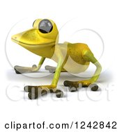 Clipart Of A 3d Yellow And Green Ribbit Frog Facing Left Royalty Free Illustration