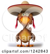 Clipart Of A 3d Mexican Chicken Wearing A Sombrero Hat Royalty Free Illustration