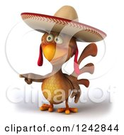3d Pointing Mexican Chicken Wearing A Sombrero Hat