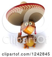 Clipart Of A 3d Thumb Up Mexican Chicken Wearing A Sombrero Hat Royalty Free Illustration