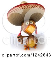 3d Thumb Down Mexican Chicken Wearing A Sombrero Hat
