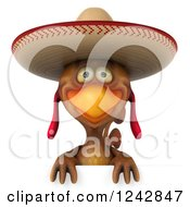 3d Mexican Chicken Wearing A Sombrero Hat Over A Sign