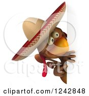 3d Mexican Chicken Wearing A Sombrero Hat Around A Sign