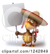 3d Mexican Chicken Wearing A Sombrero Hat Holding A Blank Sign