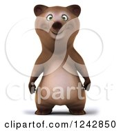 Clipart Of A 3d Happy Brown Bear Royalty Free Illustration by Julos