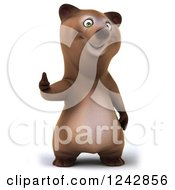 Clipart Of A 3d Brown Bear Holding A Thumb Up Royalty Free Illustration