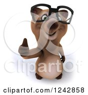 Clipart Of A 3d Bespectacled Brown Bear Holding A Thumb Up Royalty Free Illustration