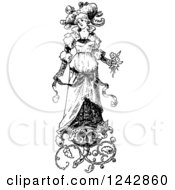 Vintage Black And White Bride With Floral Designs