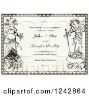 Vintage Bride And Groom In A Border Over Vintage Paper With Sample Text