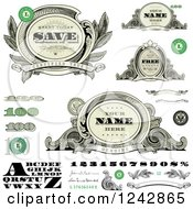 Alphabet Number And Money Design Elements