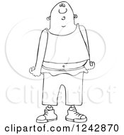 Clipart Of A Black And White Gang Banger In Low Pants Royalty Free Illustration