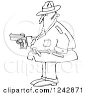 Clipart Of A Black And White Chubby Private Investigator Man Holding A Pistol Royalty Free Vector Illustration