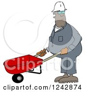 Clipart Of A Black Worker Man Pushing A Wheelbarrow Royalty Free Illustration by djart