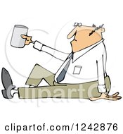 Clipart Of A Caucasian Businessman Sitting On The Ground And Begging With A Cup Royalty Free Vector Illustration