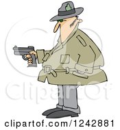 Clipart Of A Chubby Caucasian Private Investigator Man Holding A Pistol Royalty Free Vector Illustration