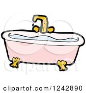 Clipart Of A Pink Bath Tub Full Of Water Royalty Free Vector Illustration by lineartestpilot
