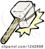 Clipart Of A Stone Hammer Making Contact Royalty Free Vector Illustration by lineartestpilot