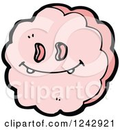 Clipart Of A Goofy Pink Cloud Royalty Free Vector Illustration by lineartestpilot