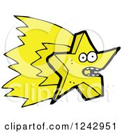 Clipart Of A Shooting Yellow Star Character Royalty Free Vector Illustration by lineartestpilot
