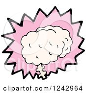 Clipart Of A Brain Over A Pink Burst Royalty Free Vector Illustration by lineartestpilot
