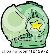Clipart Of A Green Helmet Royalty Free Vector Illustration by lineartestpilot