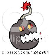 Clipart Of A Screaming Bomb Royalty Free Vector Illustration by lineartestpilot