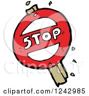 Clipart Of A Round Broken Stop Sign Royalty Free Vector Illustration by lineartestpilot
