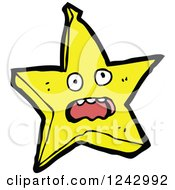 Clipart Of A Shouting Yellow Star Character Royalty Free Vector Illustration by lineartestpilot