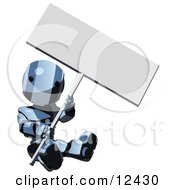Blue Metal Robot Clipart Sitting On The Ground And Holding A Blank Sign Illustration