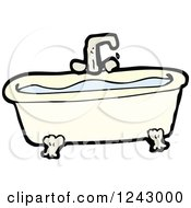 Clipart Of A Bath Tub Full Of Water Royalty Free Vector Illustration by lineartestpilot