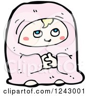 Clipart Of A Begging Baby Royalty Free Vector Illustration by lineartestpilot