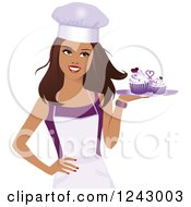 Clipart Of A Beautiful Brunette Female Baker Holding A Tray Of Purple Cupcakes Royalty Free Vector Illustration by Monica #COLLC1243003-0132