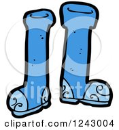 Clipart Of Blue Boots Royalty Free Vector Illustration by lineartestpilot