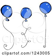 Clipart Of Blue Balloons Royalty Free Vector Illustration by lineartestpilot