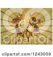 Clipart Of A Grungy Green Brown And Orange Background Of Circles Butterflies Rays And Splatters Royalty Free Vector Illustration