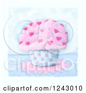 Clipart Of A Painting Of A Cupcake With Hearts And Polka Dots Royalty Free Illustration by lineartestpilot
