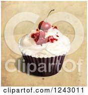 Clipart Of A Painting Of A Cupcake Topped With A Cherry Over Tan Royalty Free Illustration by lineartestpilot