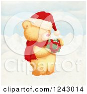 Cute Christmas Bear Holding A Gift In The Snow