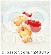 Cute Christmas Bear Carrying A Sack In The Snow