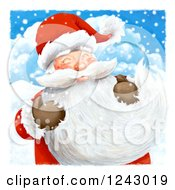 Clipart Of Santa Claus Holding His Long Beard In The Snow Royalty Free Illustration by lineartestpilot