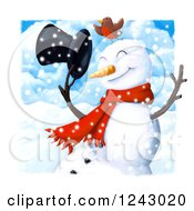 Robin On A Happy Snowman Holding Onto His Hat In The Snow