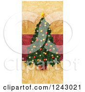 Painted Christmas Tree Over Red And Gold Texture