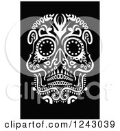 Clipart of a Floral Black and White Day of the Dead Skull - Royalty Free Vector Illustration by lineartestpilot