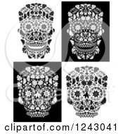Clipart Of Floral Black And White Day Of The Dead Skulls Royalty Free Vector Illustration