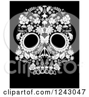 Clipart Of A Floral Black And White Day Of The Dead Skull Royalty Free Vector Illustration