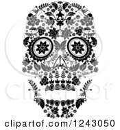 Floral Black And White Day Of The Dead Skull
