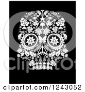Clipart Of A Floral Black And White Day Of The Dead Skull Royalty Free Vector Illustration by lineartestpilot